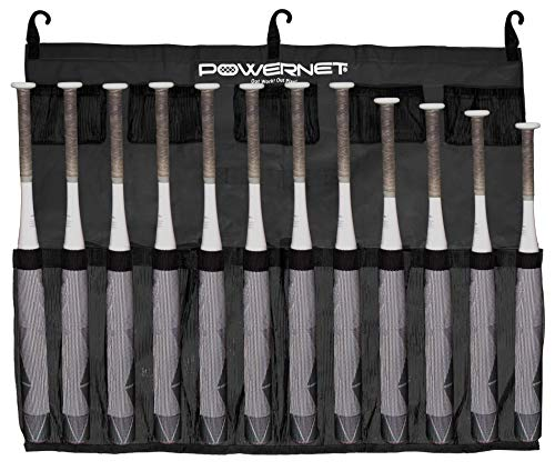 PowerNet Hanging Bat Bag Caddy for Baseball and Softball Teams | J Hooks Hang on Fence and Holds Up to 12 Bats | Keeps Players Ready and Dugout Organized | Warm Up Ball Pockets
