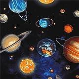 Robert Kaufman Schwarzer Stoff mit Planeten und Weltraum