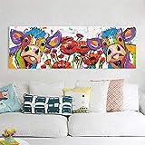 N / A Pintura sin Marco Mural Arte Animal Vaca Flor Imagen decoración del hogar sobre Lienzo ZGQ7106 30x90cm