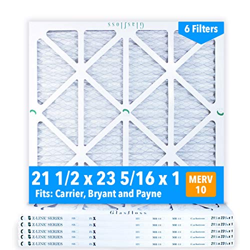Glasfloss 21-1/2 x 23-5/16 x 1 Air Filters (Case of 6), MERV 10, Pleated, Made in USA - Fits Listed Models of Carrier, Bryant & Payne