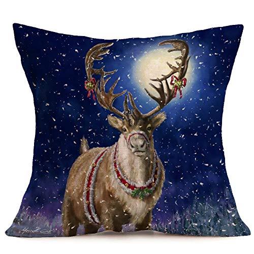 WWLDPTTCD Funda de cojín de Escena de Nieve de Navidad Funda de Almohada de decoración de Lino de algodón...