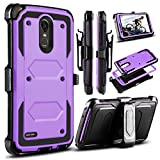 LG Stylo 3 Case, LG Stylus 3 Case, LG Stylo 3 Plus 2017 Case, Venoro Heavy Duty Shockproof Protection Case Cover with Swivel Belt Clip and Kickstand for LG LS777 / MP450 / M430 (Purple)