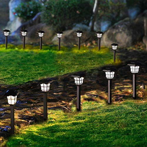 MAGGIFT 12 Pack Solar Pathway Lights, Solar Garden Lights Outdoor Solar Waterproof Landscape Lights for Lawn, Patio, Yard, Walkway, Deck, Driveway, Warm White