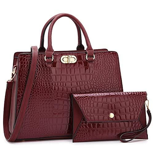 Dasein Women Handbags Fashion Satchel Purses Top Handle Tote Work Bags Shoulder Bags with Matching Clutch 2pcs Set (alligator burgundy)