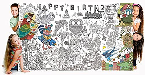 Bee Couleurful Really Big Couleubague Poster (60''x 36'') Happy Birthday by Bee Couleurful