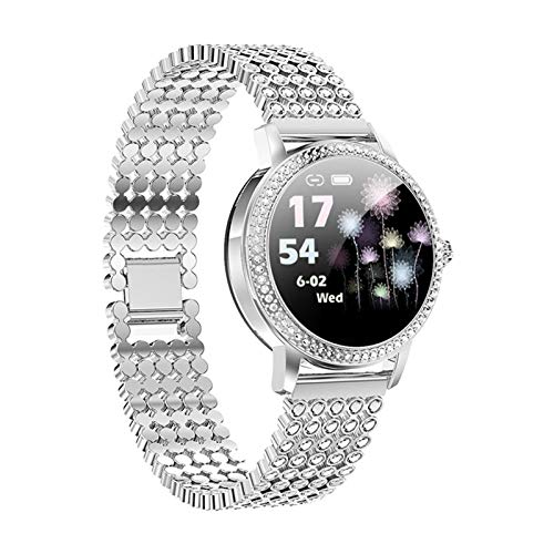 XWZ Smart Watch for Women, Sports Watch Fitness Tracker, Women Lovely Steel Relojes IP68 Pulsera Impermeable Tarifa cardíaca Regalo para el Amante,Plata