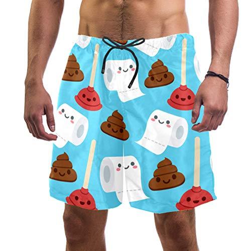 FURINKAZAN Pantalones cortos de natación para hombre, de secado rápido, divertido, de dibujos animados, de secado rápido, papel higiénico