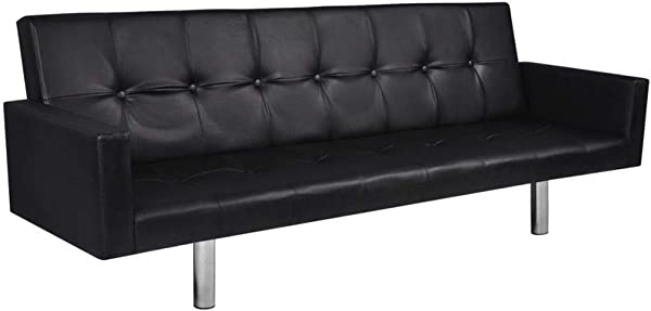 Unfade Memory Artificial Leather Sofa Bed With Armrest Featuring Contemporary Design Black