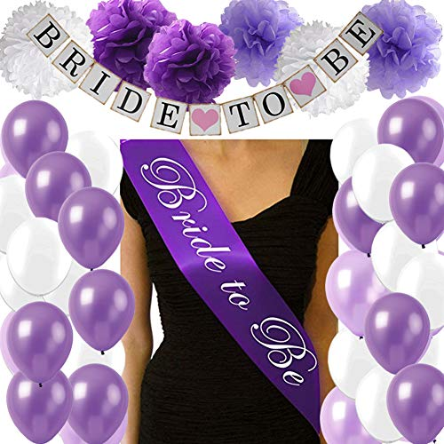 Purple Bridal Shower Decorations Pack- Include Bride to Be Banner, Bride to Be Sash, Pompom Flowers, Latex Balloons for Lavender Purple Bachorlette Party Wedding Decorations