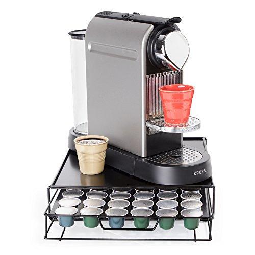 Tatkraft Aim Nespresso Coffee Pod Holder 48 Capsules, Coffee Pod Storage Drawer, Compact Design for Tidy Kitchen 11.3 X 2.8 X 12.6'