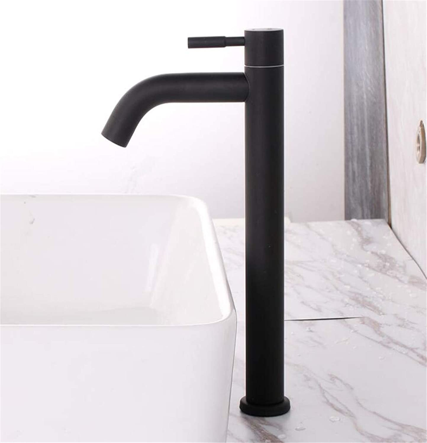 Black Paint Single Cold Deck Mounted Bathroom Basin tap Single Handle 304 Stainless Steel