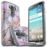 LG G3 Case, [NOT FIT LG G3 Vigor] Starshop [Shock Absorption] Hybrid Dual Layers Rugged Impact Advanced Armor Phone Cover with [Premium HD Screen Protector Included] for LG G3 (Marble Pattern)