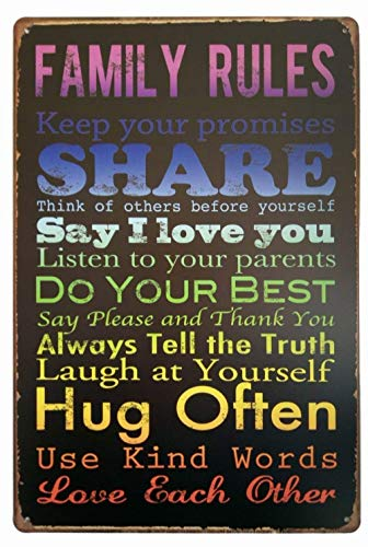 Family Rules Keep Your Promises Share metalen muurstickers waarschuwingen Child metalen poster gedecoreerd bar restaurant keuken kantoor thema bruiloft verjaardag Kerstmis Paasgeschenk