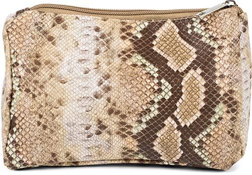 styleBREAKER Damen Beautybag in bunter Schlangen Optik, Kosmetiktasche, Make Up Bag, Taschen Organizer 02013017, Farbe:Braun-Beige