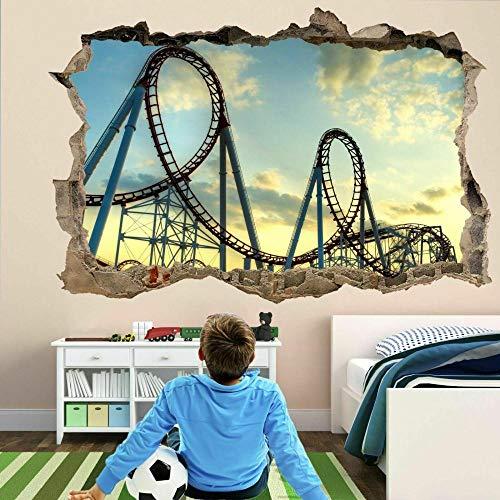 Roller Coaster Ride 3D Wall Art Sticker Mural Poster Habitación para niños Decoración para el hogar-Dormitorio Cocina-50x70cm