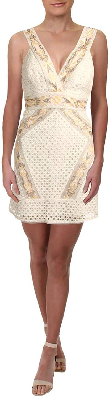 BCBG Max Azria Womens Fauve Sleeveless Mini Cocktail Dress