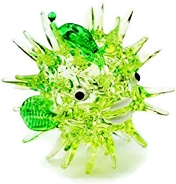 Aquarium MINIATURE HAND BLOWN Art GLASS Green Puffer Fish FIGURINE Collection