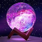 Planetenlicht Kinderspielzeug Licht 16 Farbe LED 3D Galaxie Licht Stern Mondlicht Holzturm Fernbedienung Touch-Steuerung (14 cm Holzrahmen)