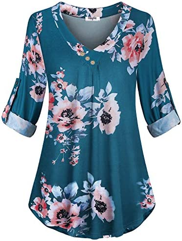 Hibelle Blouses for Women Fashion 2020 Business Casual Floral Teal V Neck Buttons Shirts Zulily product image