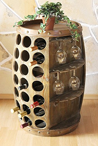 DanDiBo Weinregal Weinfass Holz 0416 Bar Flaschenständer 84 cm für 42 FL. Regal Fass Holzfass...