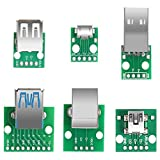 6pcs USB to DIP Adapter Converter, Mini USB Female, Micro USB Female, 2.54mm 4p USB Male, USB 2.0 USB 3.0 Female, USB Type B Square Interface Female to DIP PCB Power Breakout Board Module