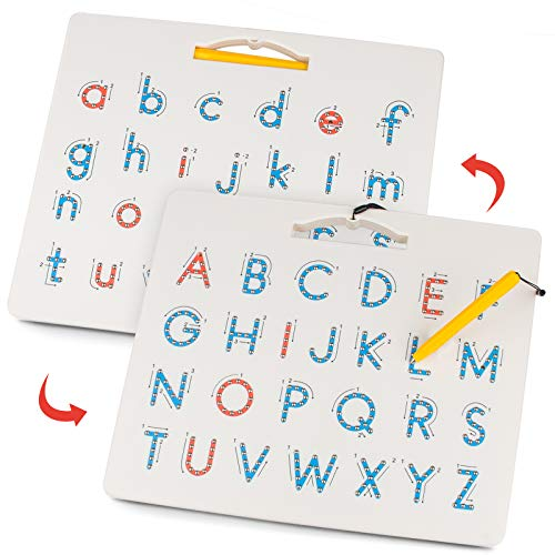 Gamenote Double Sided Magnetic Letter Board - 2 in 1 Alphabet Magnets Tracing Board for Toddlers ABC Letters Uppercase & Lowercase Practicing