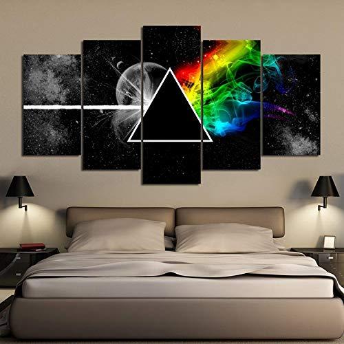 kuanmais Leinwanddrucke Gedruckt 5 Stücke Leinwand Wandkunst Illuminati Fans Hd Malerei Poster, 8 × 14/18/22 Zoll (Mit Rahmen)