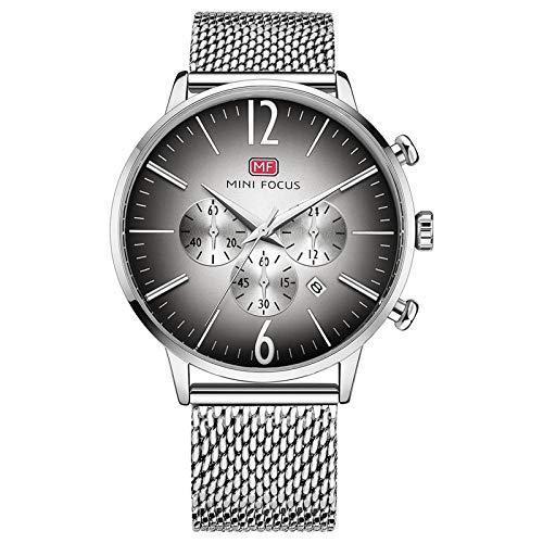 QZPM Hombre De Ultrafino Acero Inoxidable Malla Reloj Moda Simple Multifunción Impermeable Calendario Cuarzo Analógico Negocios Relojes,Plata