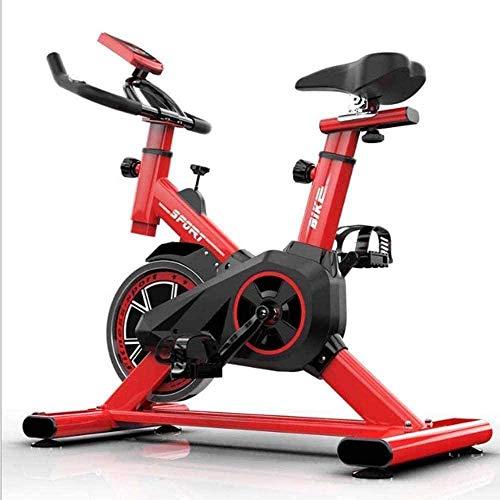 Bicicleta de ejercicio profesional para interiores con pantalla de medidor electrónico ajustable para uso en el hogar y en el gimnasio, entrenamiento cardiovascular rojo-A
