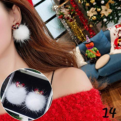 N/P Earrings Christmas Santa Claus Snow Snowman Bell Long Dangler Ball Women Stud Ear Drop