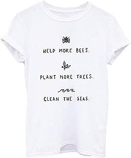 desolateness Women Crew Neck Short Sleeve Casual Summer Letter Print Blouse T Shirt Top Grey XXX-Smalll
