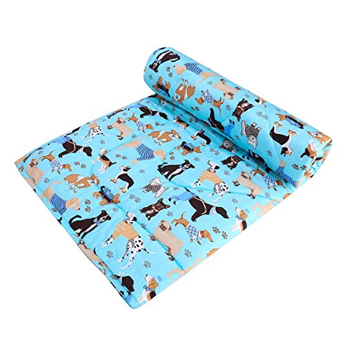 JISEN Baby Blanket Soft Cot Comforter Crib Baby Quilts for Boys and Girls Cotton 1 Pack Baby Blanket Cradle Quilt Nursery Bed Throw Blanket Bed Cover Lightweight Blanket 90x122cm Blue Dog
