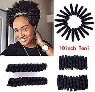 10Inch Crochet Hair Crochet Braids Curly Bouncy Ombre Spirals Curled Tapered Cut Natural Hair Synthetic Hair Extension Each Box 20strands 30g (10inch Toni Curl, 1b)