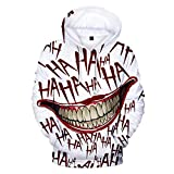 Kapuzenpullover mit 3D-Jokergrinsen und Haha-Druck, Unisex, toll für Halloween, Kostüme, Partys Gr. Medium, weiß