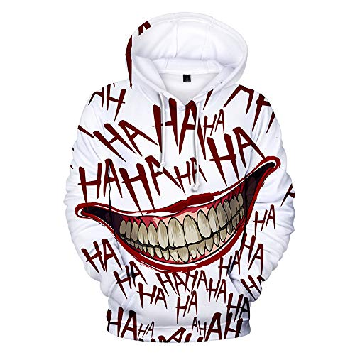 Kapuzenpullover mit 3D-Jokergrinsen und Haha-Druck, Unisex, toll für Halloween, Kostüme, Partys Gr. Large, weiß