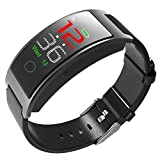 luckyruby CK11C Bluetooth 4.0 Smart Watch Bracelet Blood Pressure Tracker IP67 Waterproof Full Touch Color LCD Smart Bracelet Pedometer Wristband for iOS & Android (Gray)