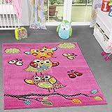 TT Home Alfombra Infantil Adorables Búhos Rosa Fucsia Verde Azul, Größe:80x150 cm