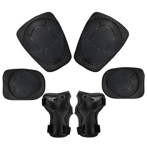 sjapex 4pcs Adultos Rodilla Codo Long Shin Pads Protecci/ón de la Armadura Protecci/ón Set Motocross Motocicleta Bicicleta Skate Skateboard Bike Racing Tactical Deportes Negro