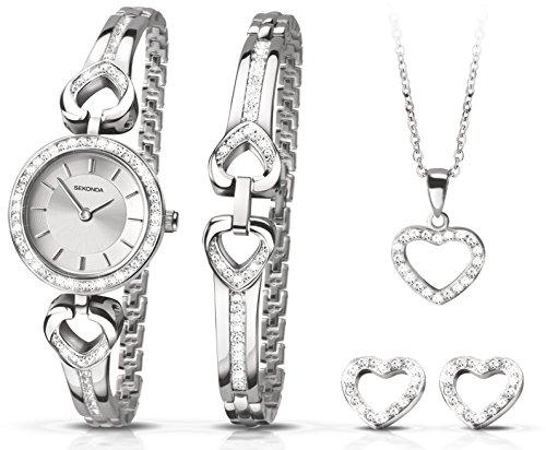 Sekonda set regalo per il Natale con oroloigo argento, braccialetto, ciondolo a forma di cuore e orecchini