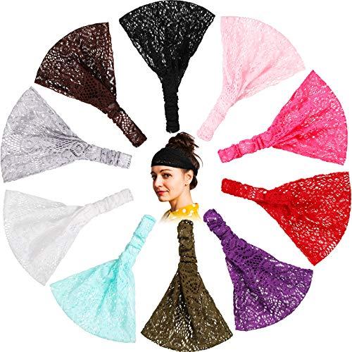 10 Pieces Lace Elastic Headwrap Lace Elastic Headbands Boho Bandana Bohemian Headband Hair Accessories for Women Girls, 10 Colors