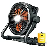 Battery Operated Fan,12 Inch Rechargeable Floor Fan with Light,Up to 15 Hours,Outdoor Portable High Velocity Industrial Fan for Camping ,Fishing,Garage,Seaside