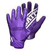 Battle Double Threat Football Gloves – Ultra-Tack Sticky Palm Receivers Gloves – Pro-Style Receiver Gloves, Youth, Purple/Purple, Youth X-Large