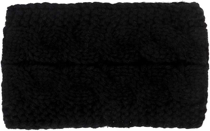 Holzkary Crochet Knit Turban Headband Warm Bulky Crocheted Head Wrap Pure Color Sport Headbands Ear Warmer for Women