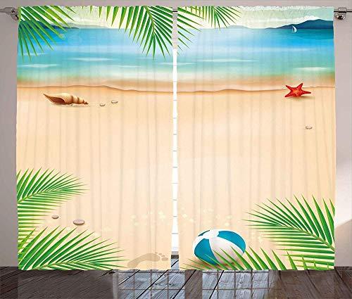 Las Cortinas Opacas de la habitación de los niños están aisladas para Mantener el Calor, Reducir el Ruido y Ayudar a Dormir Orilla del mar con Conchas de Estrellas de mar Palmeras Verano océano