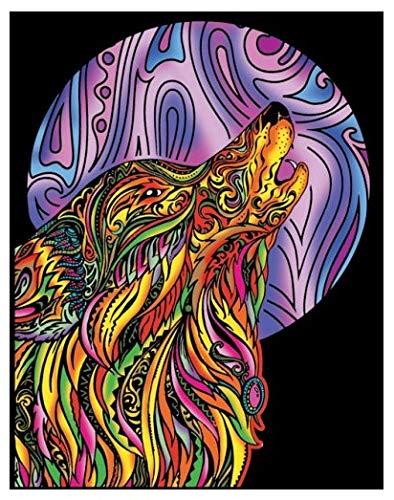 Terciopelo colorvelvet de 47x35 cm para colorear con caja de rotuladores - Lobo luna