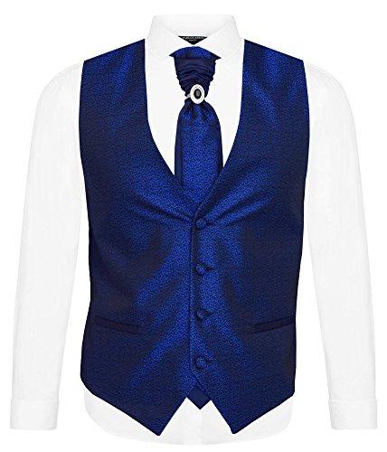 Herren Weste Blau Flora - SET 5 TEILIG - Designer Hochzeitsweste W-11, Blau, 62 - 7XL