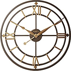 Howard Miller York Station Wall Clock 625-299 – 21.25-Inch Wrought Iron, Aged Iron Finish, Gold-Finished Accents, Round Antique Home Decor, Quartz Movement