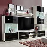 MUSEVANE Fünfteilige Wohnwand TV-Schrank mit LED-Beleuchtung Schwarz