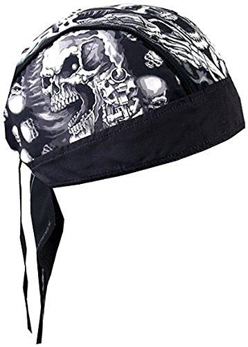 Black White Assassin Gangster Skull Motorcycle Head Wrap Durag Skull Cap Biker