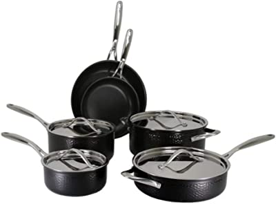 Oneida Tri-Ply Stainless Steel Hammered Black Finish 10-Piece Cookware Set